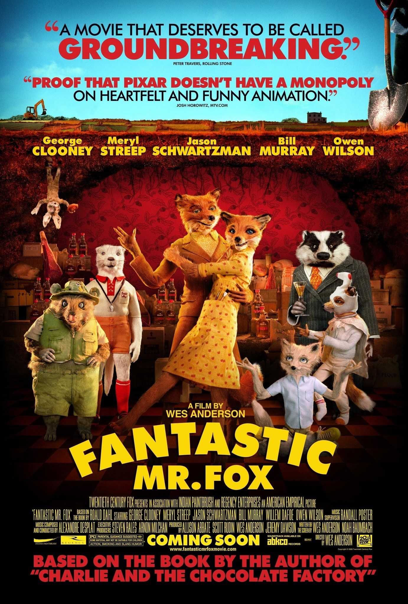 fantastic mr fox Summary: based on the roald dahl story about a fox who tries to outwit three mean farmers who lay siege to his home.